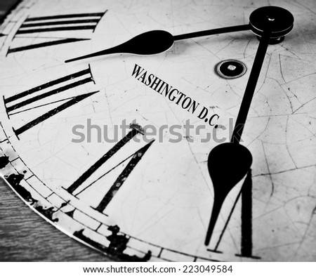 Washington D.C. black and white clock face - stock photo