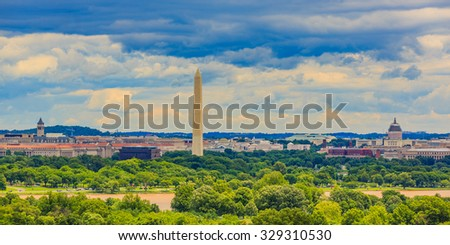 Washington, D.C. cityscape with Washington Monument and Capitol Hill, viewed from Arlington National Cemetery. - stock photo