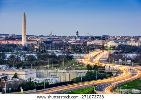 Washington, D.C. cityscape with Washington Monument and Jefferson Memorial. - stock photo