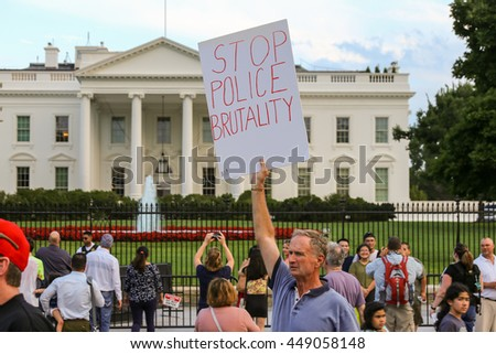 Washington, D.C. - July 07 2016: Protestors gather in front of the White House after recent police involved shootings of Alton Sterling and Philando Castile