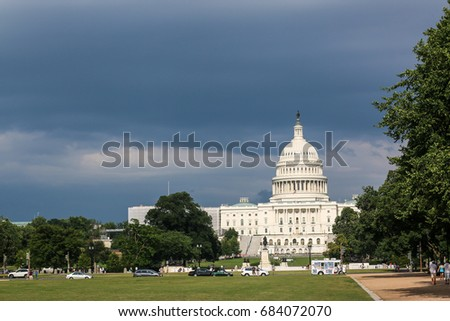 Washington, D.C. - July 23, 2017: Storm clouds form on the National Mall.