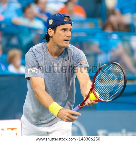 WASHINGTON, D.C. - JULY 31: Tommy Haas (GER) serves against Tim Smyczek (USA, not pictured) at the Citi Open tennis tournament on July 31, 2013 in Washington, D.C.  Play was suspended for the day due to rain.