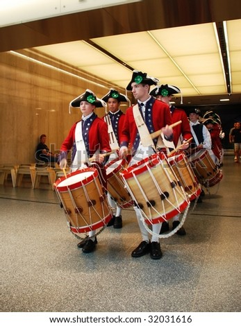 WASHINGTON,D.C. - JUNE 14: The Fifes and Drums of York Town in National Museum of American History on June 14, 2009 at Flag Day Ceremony. - stock photo