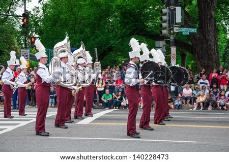 WASHINGTON, D.C. - MAY 27, 2013: A band plays in Memorial Day Parade May 27, 2013, in Washington, D.C.