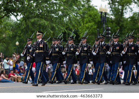 WASHINGTON, D.C. - MAY 30, 2016: Memorial Day Parade. A marching platoon from the United States Army wearing uniforms.
