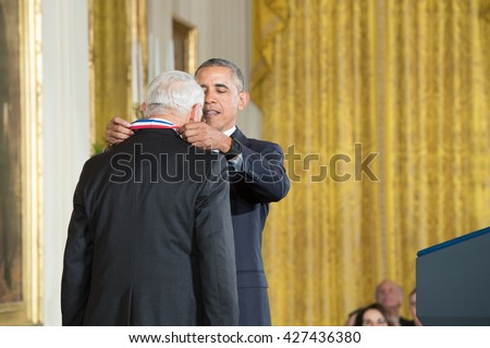 WASHINGTON, D.C. - MAY 19: President Obama awards Dr. Arthur Gossard on May 19, 2016 in Washington, D.C. The ceremony recognized the contributions of 17 top scientists, engineers, and inventors.