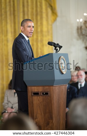 WASHINGTON, D.C. - MAY 19: President Obama awards National Medals of Science and National Medals of Technology and Innovation on May 19, 2016 in Washington, D.C.