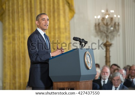 WASHINGTON, D.C. - MAY 19: President Obama awards National Medals of Science and of Technology on May 19, 2016 in Washington, D.C. The ceremony recognized the contributions of top scientists. - stock photo