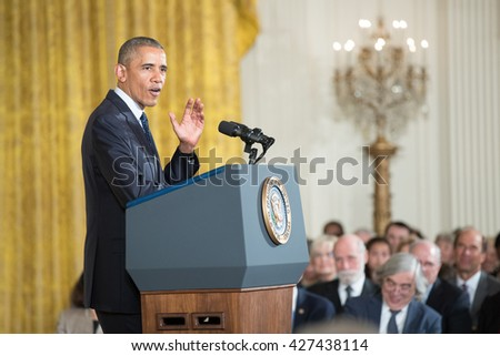 WASHINGTON, D.C. - MAY 19: President Obama awards National Medals of Science and of Technology on May 19, 2016 in Washington, D.C. The ceremony recognized the contributions of top scientists.
