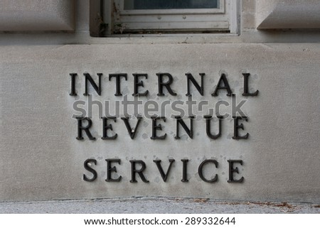 WASHINGTON, D.C. -May 5 2015: The Internal Revenue Service is the agency responsible for collecting taxes in the United States - stock photo
