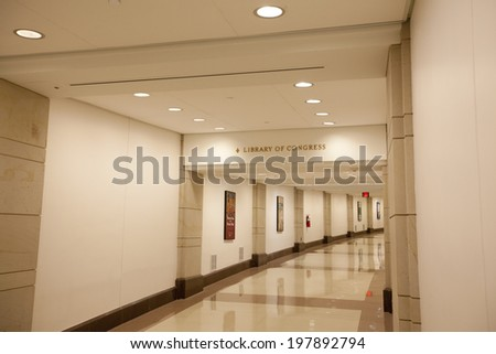 WASHINGTON D.C. - MAY 23 2014: The underground tunnel connecting the U.S. Capitol Building to the Library of Congress.