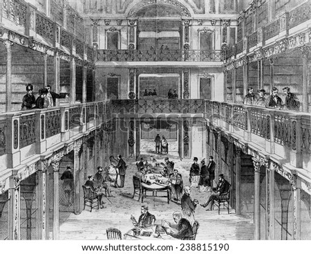 Washington, D.C., The Library of Congress in the U.S. Capitol Building. 1853 - stock photo