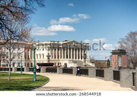 Washington D.C. - United States April 04, 2015 - United States Capitol Building west facade in daylight - stock photo