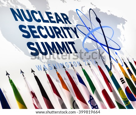 WASHINGTON D.C., USA - Apr 01, 2016: Logo and flags of participating countries of the Nuclear Security Summit which is a world summit, aimed at preventing nuclear terrorism around the globe - stock photo