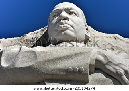 Washington, D.C., USA - April 12, 2015: Martin Luther King Jr Memorial in West Potomac Park, Washington D.C.. - stock photo