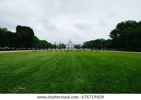 WASHINGTON D.C., USA - CIRCA MAY 2017: The Capitol Building, home of the United States Congress, on the National Mall in Washington, D.C.