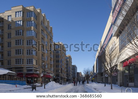 Washington, D.C., USA - January 24, 2016: Snow-covered streets and houses in Washington after a two-day blizzard