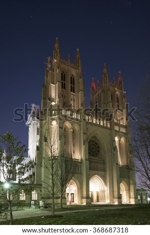 Washington,D.C.,USA - January 21,2016: The Cathedral Church of Saint Peter and Saint Paul in the City and Diocese of Washington, operated under the more familiar name of Washington National Cathedral.