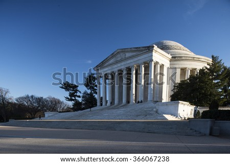 Washington, D.C., USA - January 15, 2016: The Thomas Jefferson Memorial is a presidential memorial in Washington, D.C., dedicated to Thomas Jefferson.