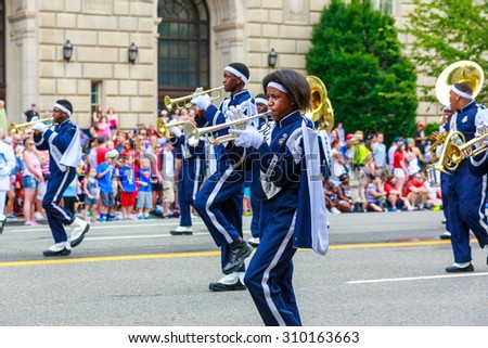 Washington, D.C., USA - July 4, 2015: Huntington High School Raider Jukebox Marching Band in the annual National Independence Day Parade 2015.