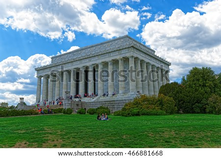 Washington D.C., USA - May 2, 2015: Tourists visit the Lincoln Memorial near the National Mall in Washington D.C., USA. The architect of the memorial was Henry Bacon. It was opened in 1922.