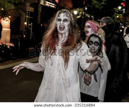 Washington D.C., USA -Oct 24: People dressing as zombies in the  Silver Spring Zombie Walk 2015 festival on Oct 24, 2015 at Silver Spring, Washington D.C., USA