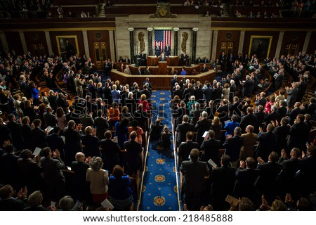 WASHINGTON D.C., USA - Sep 18, 2014: Speech by President of Ukraine Petro Poroshenko at the joint session of the Senate and House of Representatives in Washington, DC (USA) - stock photo