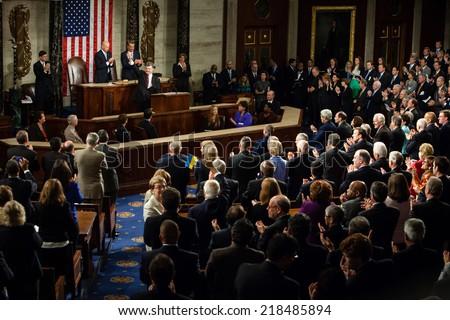 WASHINGTON D.C., USA - Sep 18, 2014: Speech by President of Ukraine Petro Poroshenko at the joint session of the Senate and House of Representatives in Washington, DC (USA) - stock photo