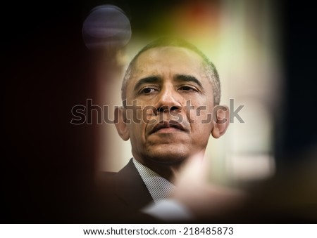 WASHINGTON D.C., USA - Sep 18, 2014: United States President Barack Obama during an official meeting with the President of Ukraine Petro Poroshenko in Washington, DC (USA)