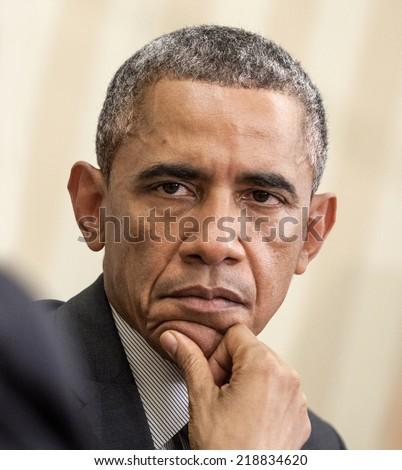 WASHINGTON D.C., USA - Sep 18, 2014: United States President Barack Obama during an official meeting with the President of Ukraine Petro Poroshenko in Washington, DC (USA) - stock photo