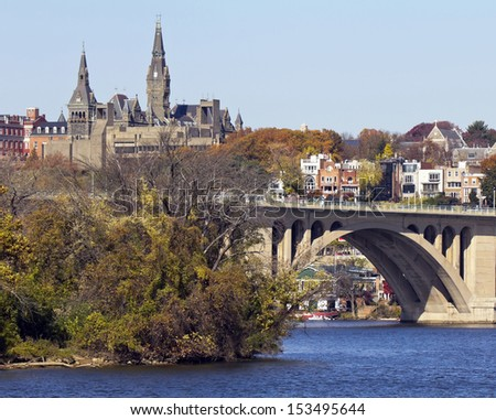 Washington DC, a view from Georgetown and Key bridge in autumn  - stock photo