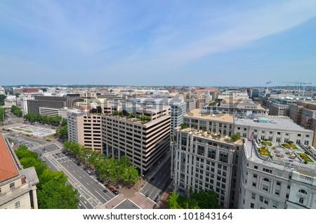 Washington DC, aerial view of Pennsylvania Avenue - stock photo