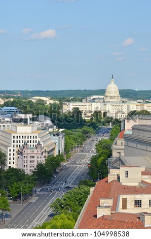 Washington DC - Aerial view of Pennsylvania street with federal buildings including US Archives building, Department of Justice and US Capitol - stock photo