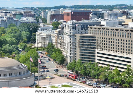 Washington DC, aerial view over Pennsylvania Avenue  - stock photo