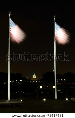Washington DC, American flags waving at National mall - stock photo