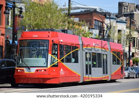WASHINGTON, DC - APR 16: DC Streetcar in Washington, DC, as seen on Apr 16, 2016. It is a surface streetcar network in Washington, D.C.consisting of only one line: a 2.2-mile segment. - stock photo