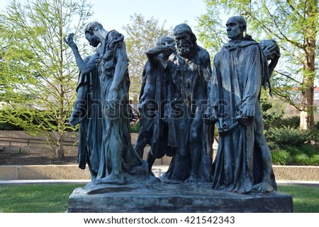 WASHINGTON, DC - APR 16: Les Bourgeois de Calais sculpture by Auguste Rodin at the Hirshhorn Sculpture Garden in Washington, DC, on April 16, 2016. In 2013, the Sculpture Garden drew 645,000 visitors.