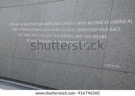 WASHINGTON, DC - APR 16: Martin Luther King Jr. Memorial in Washington, DC, as seen on April 16, 2016. This memorial is the first African American honored with a memorial on or near the National Mall. - stock photo