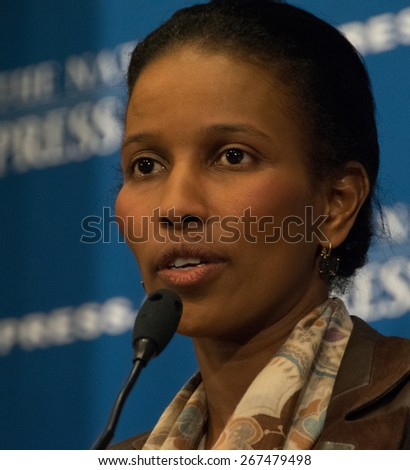 WASHINGTON, DC - APRIL 7, 2015: Author and critic of radical Islam Ayaan Hirsi Ali speaks to a luncheon at the National Press Club. - stock photo