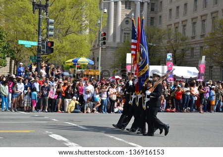 WASHINGTON, DC - APRIL 13: Cherry Blossom Parade on April 13, 2013 in Washington DC,USA.The parade is a spring celebration in Washington D.C.and people from all over the world come to watch the event