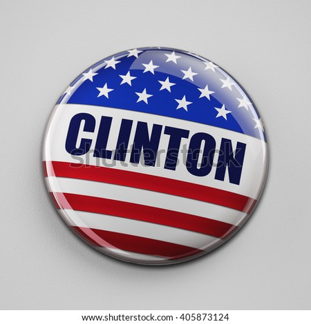 WASHINGTON, DC - APRIL 13, 2016: Illustration of presidential campaign button of Hillary Clinton running for the president's office.
