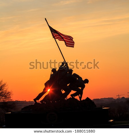 WASHINGTON, DC - APRIL 10: Iwo Jima Memorial in Washington, DC on April 10, 2014. The Memorial honors the Marines who have died defending the US since 1775. - stock photo