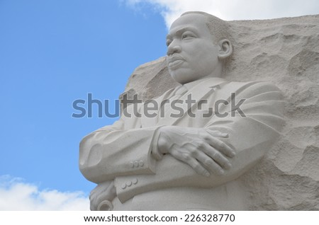 WASHINGTON, DC - APRIL 14: Martin Luther King Jr. Memorial on April 14, 2014 in Washington, DC USA. It is located at the northwest corner of the Tidal Basin near the Franklin Delano Roosevelt Memorial - stock photo