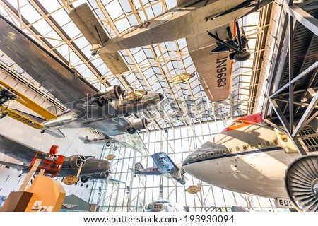 WASHINGTON DC-APRIL 10: National Air and Space museum in Washington on April 10, 2014. It holds the largest collection of historic aircraft and spacecraft in the world. Open for public on July 14,2010 - stock photo