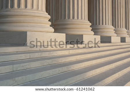 Washington DC Architectural detail of columns and marble steps. Critical focus on middle column.