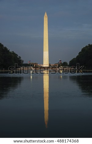 Washington DC at the Reflecting Pool and Washington Monument  Perfect background for a text