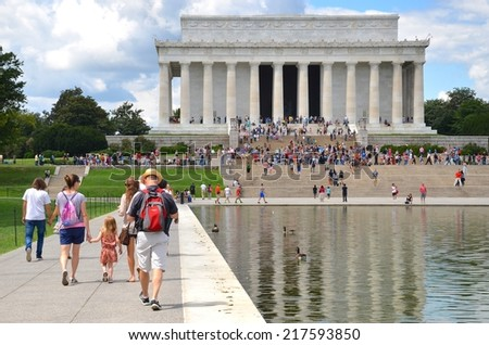 WASHINGTON DC - AUGUST 17: Abraham Lincoln Memorial on AUGUST 17, 2014 in Washington DC USA. Lincoln Memorial in Washington DC, thousands of people come to visit every year from all over the world. - stock photo