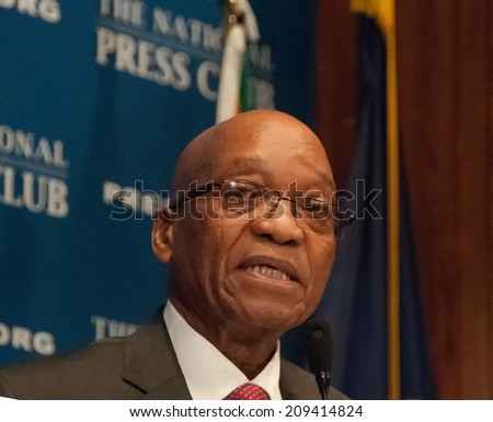 WASHINGTON, DC - AUGUST 4, 2014 -Jacob Zuma, President of the Republic of South Africa, speaks at a National Press Club Luncheon - stock photo