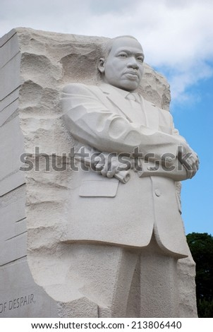 WASHINGTON, DC - AUGUST 24, 2014: Martin Luther King, Jr. statue located in West Potomac Park. The memorial is in honor of Dr. King, a civil rights leader.  - stock photo