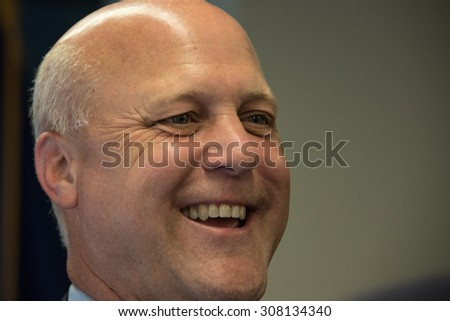 Washington, DC - August 18, 2015: Mitch Landrieu, Mayor of New Orleans, speaks about the recovery of New Orleans and what remains to be done at a National Press Club luncheon. - stock photo